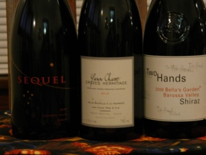 Sequel Syrah, Yann Chave Crozes Hermitage, & Two Hands Shiraz